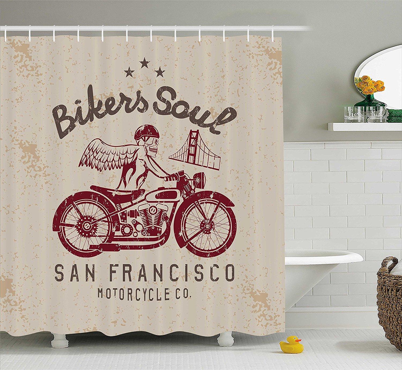 Mirryderr Retro Shower Curtain Bikers Soul San Francisco Emblem With Skull Wings Riding Motorcycle Dead Illustration Fabric Bathroom Decor Set Hooks
