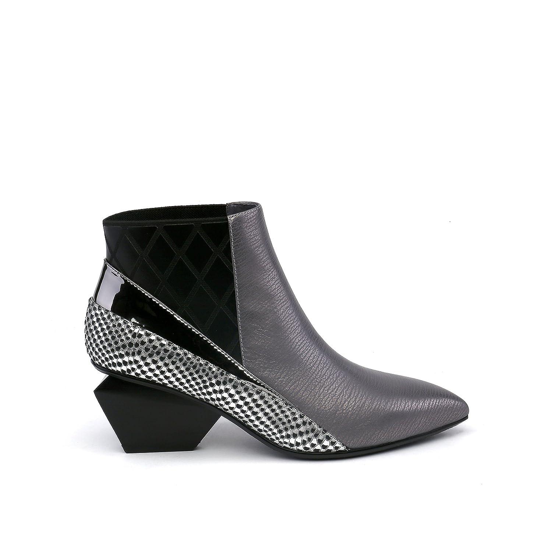 UNITED NUDE Women's Jacky Lee Fashion Boot B075N33F44 38 Medium EU (7.5-8 US)|Gun Metal/Black/Silver