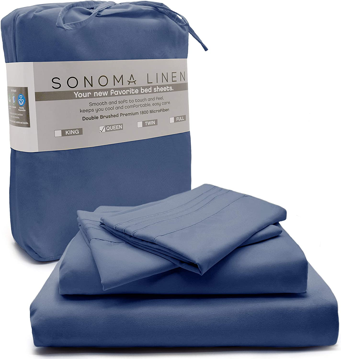 sonoma linen Super Soft Queen Bed Sheet Set Navy Blue 4 Piece Queen Size 1800 Thread Count Microfiber Bedding Wrinkle Stain and Fade Resistant Breathable and Cooling Hotel Quality Deep Pocket Sheets
