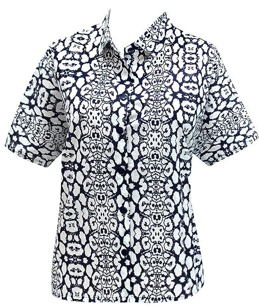 Hawaiano botón de la Camisa Blusas Mujeres con Cuello Corto Abajo Campamento Mangas Azul m