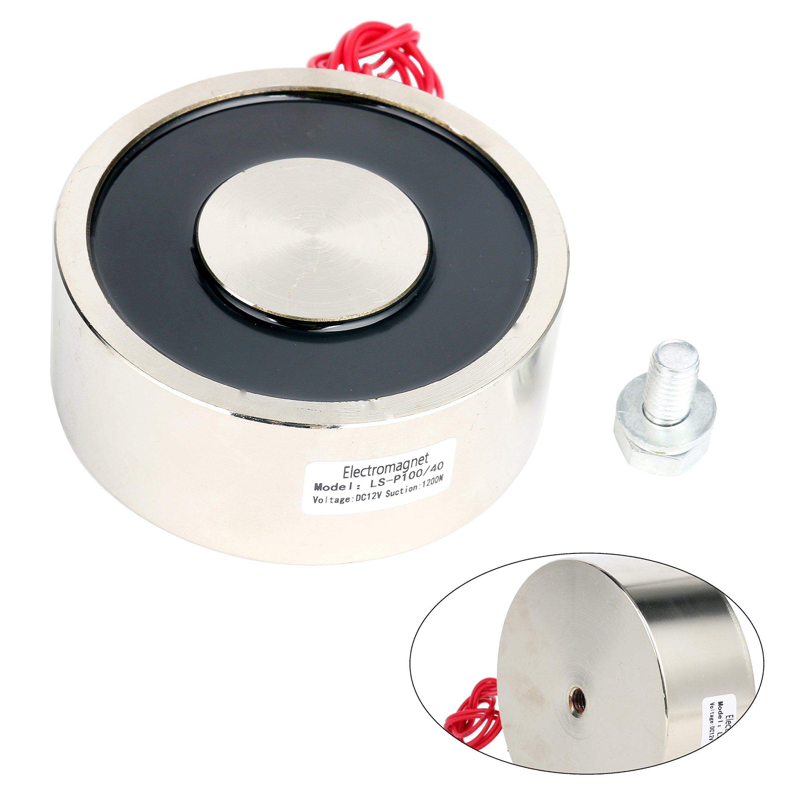 YaeTek Electromagnet - 264.5LB/120kg Force Lifting Magnet Electromagnet Solenoid 100mm 12V