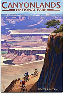 product image for Lantern Press Canyonlands National Park, Utah - Conflunce and Bikers 48251 (6x9 Aluminum Wall Sign, Wall Decor Ready to Hang)