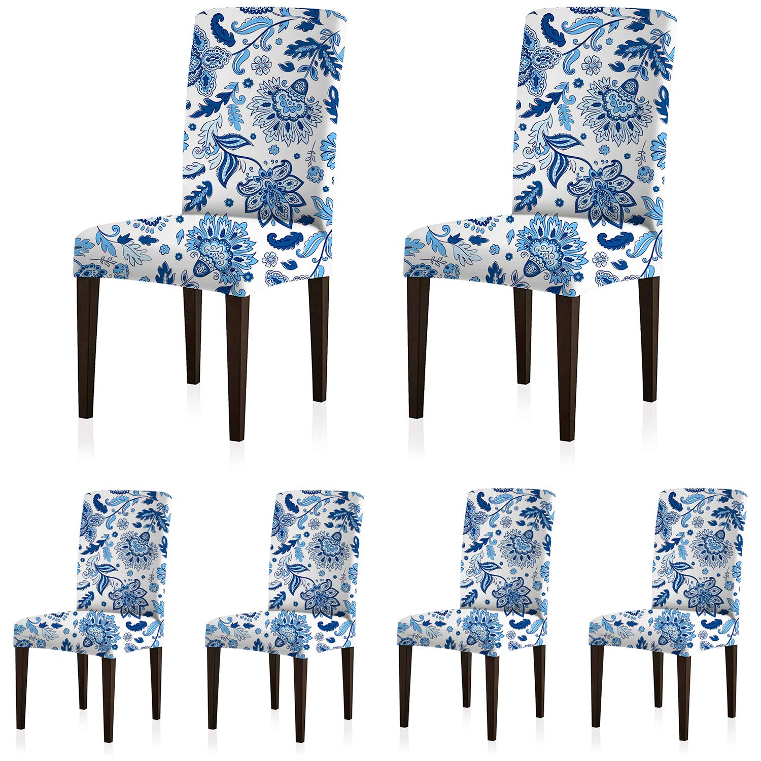 ColorBird Paisley Flower Spandex Chair Slipcovers Removable Universal Stretch Elastic Chair Protector Covers for Dining Room, Restaurant, Hotel, Banquet, Ceremony (Set of 6, Blue/White)