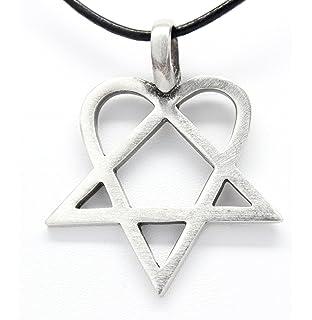 Amazon him heartagram silver pewter charm necklace pendant pewter heartagram him pentagram and heart pendant on leather necklace aloadofball Choice Image