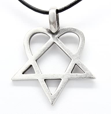 Pewter heartagram him pentagram and heart pendant on leather pewter heartagram him pentagram and heart pendant on leather necklace aloadofball Image collections