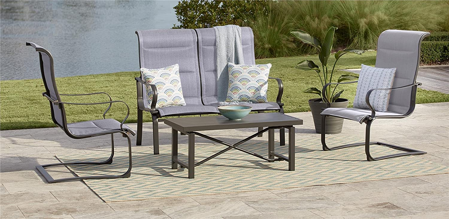 Amazon com cosco outdoor conversation set smartconnect 4 piece charcoal gray with light gray cushions garden outdoor