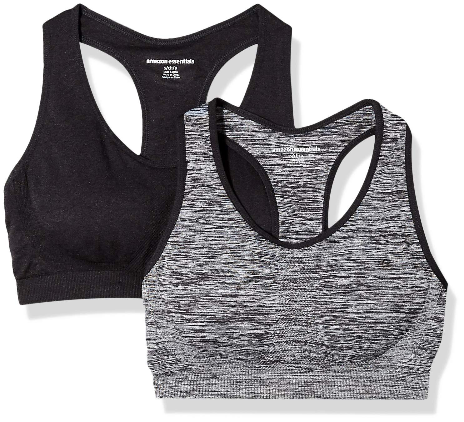Amazon Essentials Women's 2-Pack Light Support Seamless Sports Bras, Space dye/Black