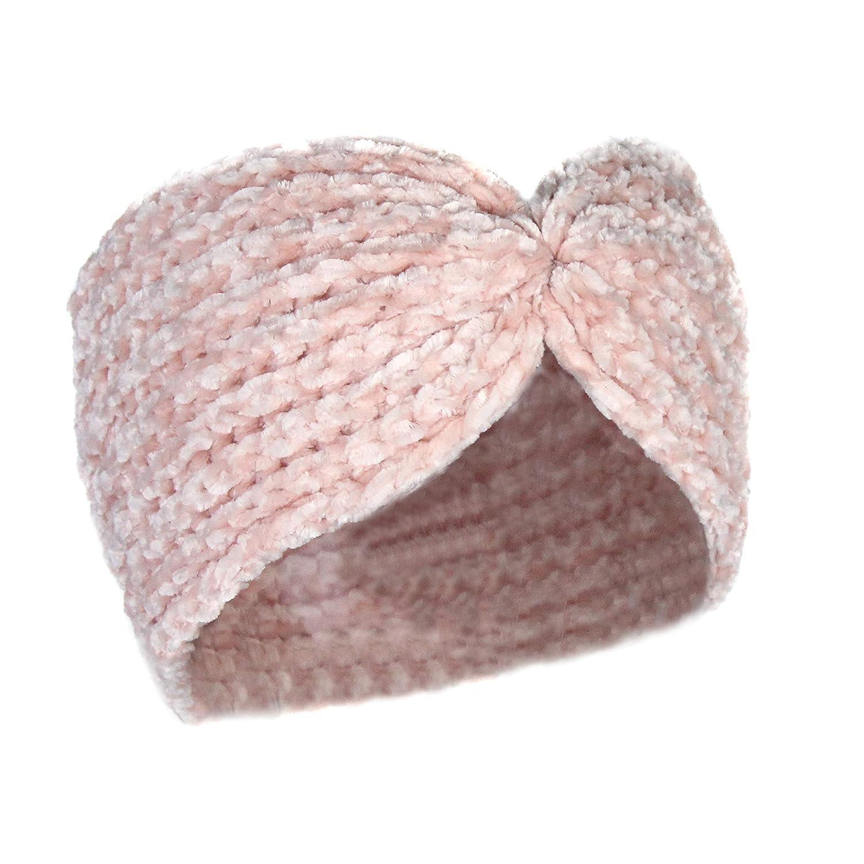 Knit Chenille Warm Winter Headband- Stretch Twisted Knot Velvet Ear Warmer Snug Fit Headwrap Turban
