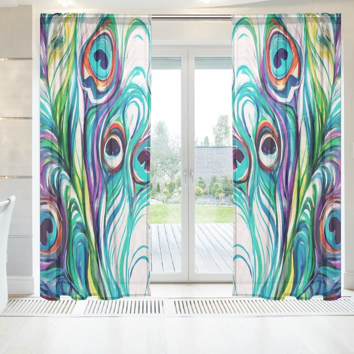baihuishop Elegant Voile Window Long Sheer Curtain 2 Panels Peacock Feathers Pattern for Door Window Room Decoration 55×84 Inch Blue Turquoise Purple Green Teal