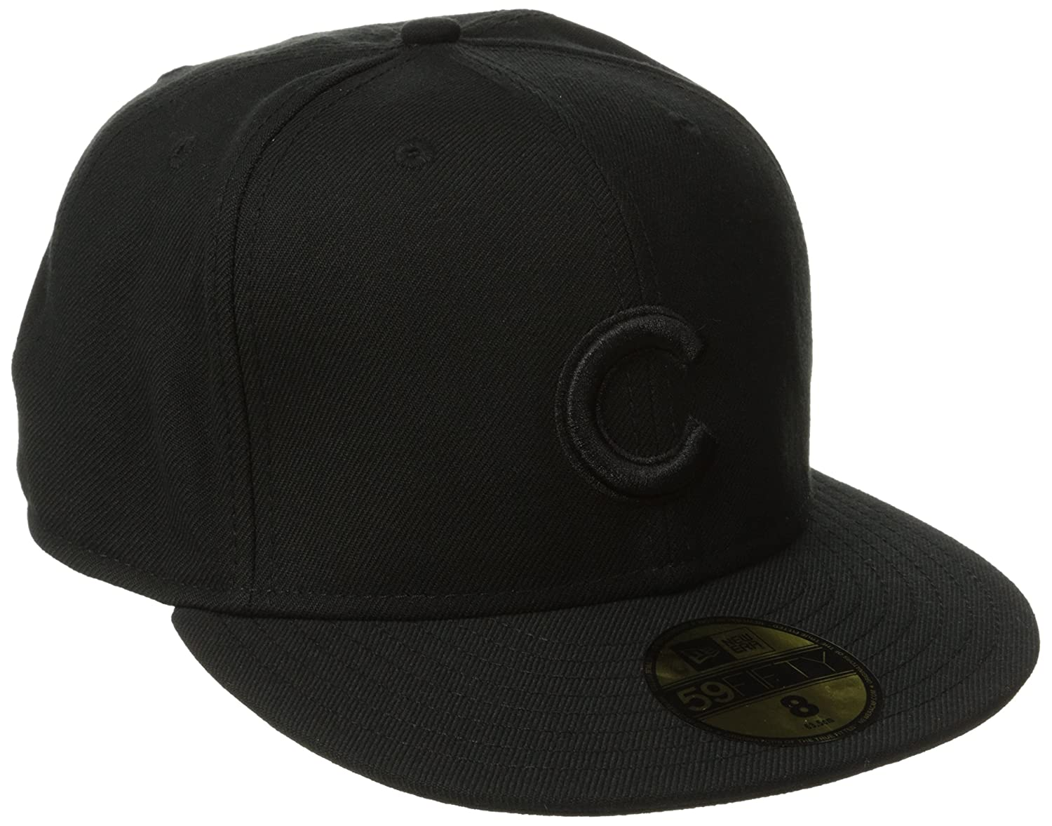 Amazon.com   New Era Chicago Cubs 59FIFTY Black on Black Fitted Hat    Sports   Outdoors 4b41b40587f3