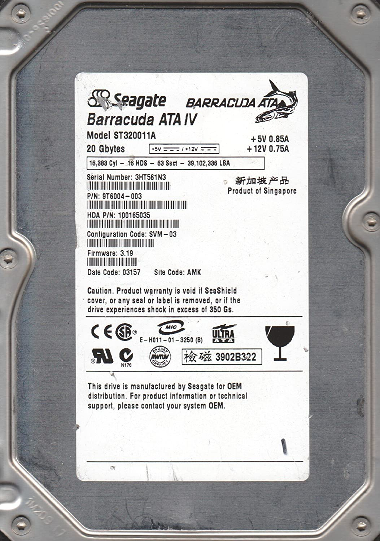 ST320011A 3HT AMK FW 3.19 Seagate 20GB IDE 3.5 Hard Drive PN 9T6004-003