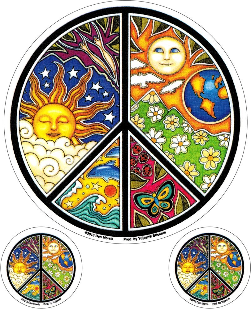 Mosaic Peace Sign 3 Pack Stickers Decals Yujean Dan Morris