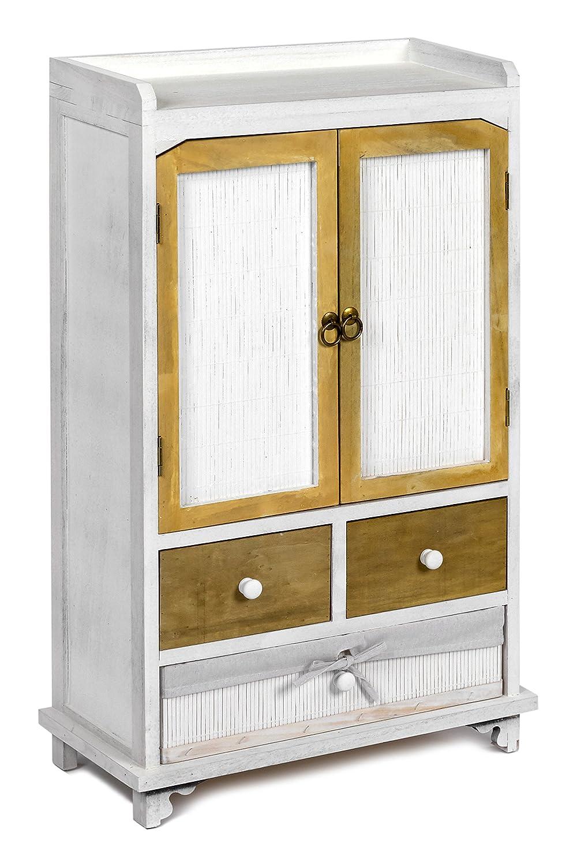 Ts-ideen Landhaus Kommode Schrank Holz Optik Shabby Look Weiss Used Optik Holz dunkle Türen und Schubladen 85a56b