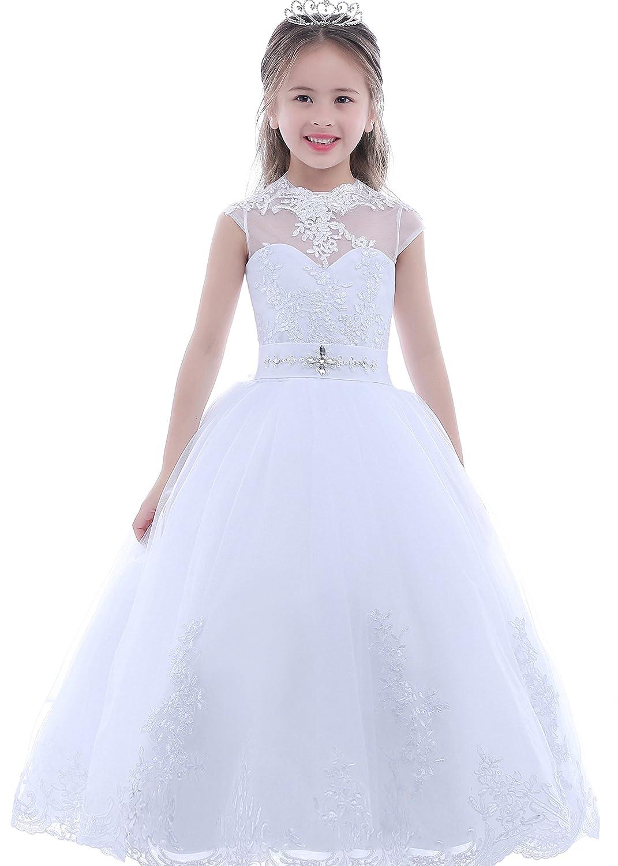 Amazon.com  Dobelove Girl s Ball Gown Short Sleeves First Communion Dress  Flower Girl Dress  Clothing c5f8d9d3b98b