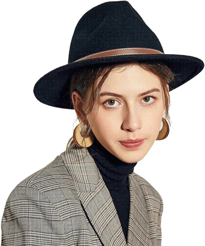 Amazon.com: Sedancasesa Womens Belt Buckle Fedora Hat Wide Brim Wool Felt  Trilby Panama Hat: Clothing
