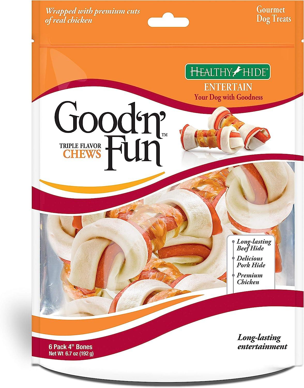 Good Fun Triple Flavor Chews, Rawhide Treats for Dogs