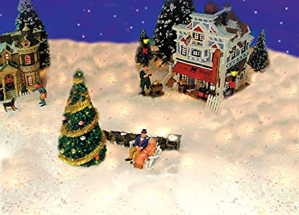 Christmas Village Display.Productworks 5 Pre Lit Snow Blanket For Mantle Or Christmas Village Display Clear Lights