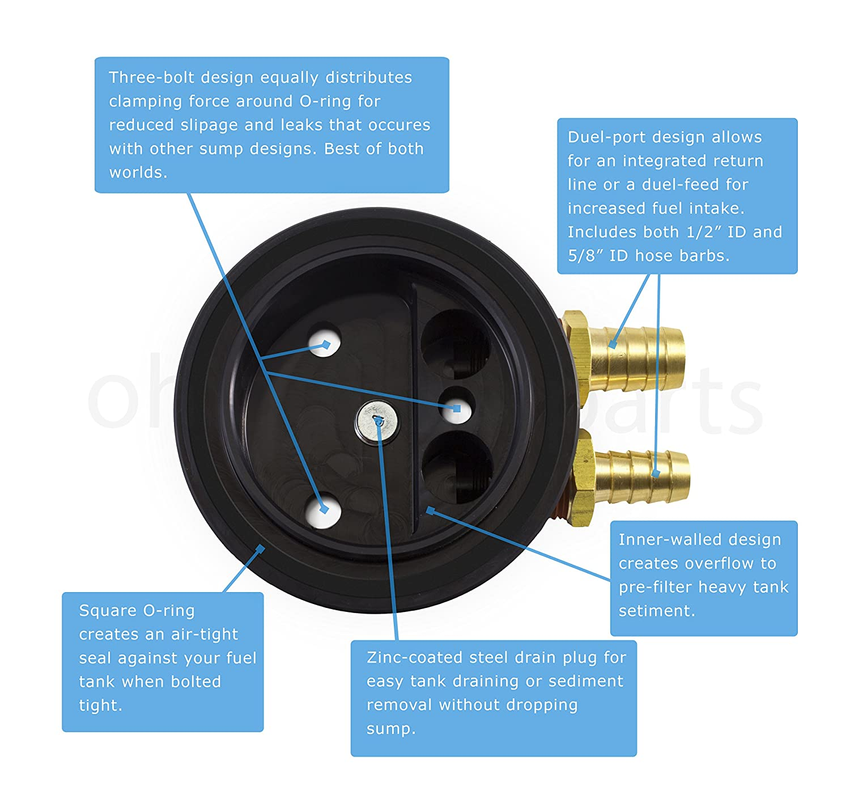 Ohio Diesel Parts Fuel Tank Gas//Diesel Dual-Port Sump w// Integrated Return
