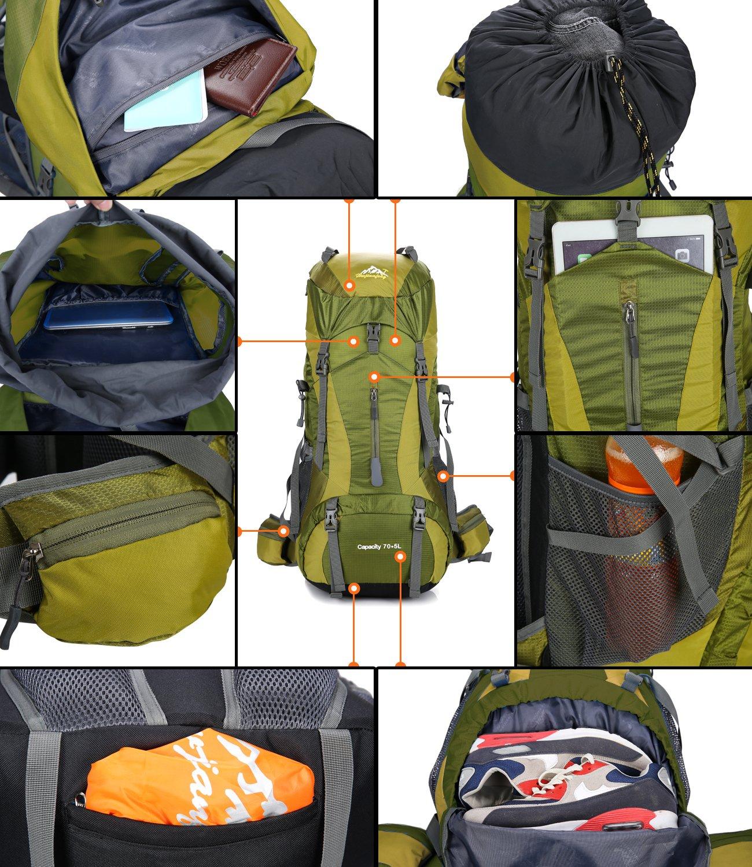 f47a3f3d4 Onyorhan 70L+5L Mochila Viaje Trekking Excursionismo Senderismo Alpinismo  Escalada Camping Hombre Mujer (Azul)