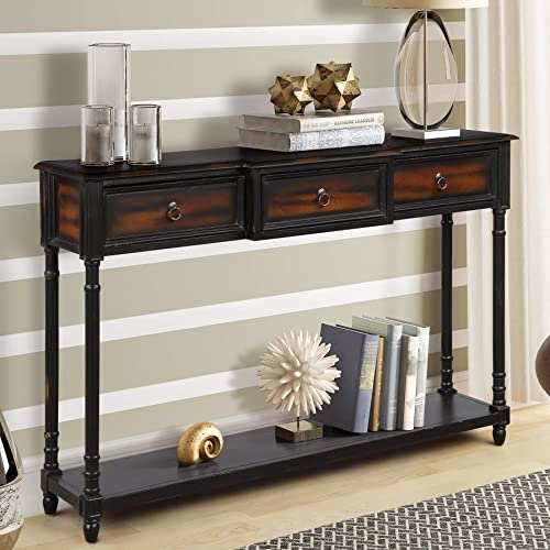 Console Table Sofa Table Sideboard Table with 3 Drawers Luxurious and Exquisite Design for Entryway with Projecting Drawers and Long Shelf Expresso