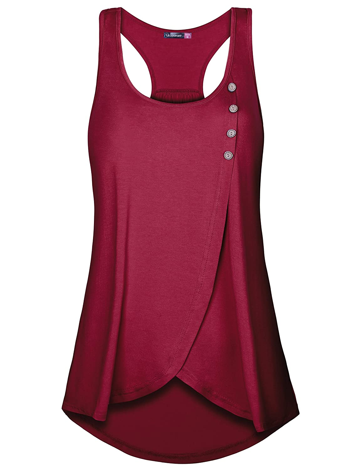 Le Vonfort Women's Sleeveless Round Neck Loose Fit Racerback Tunic Tank Top