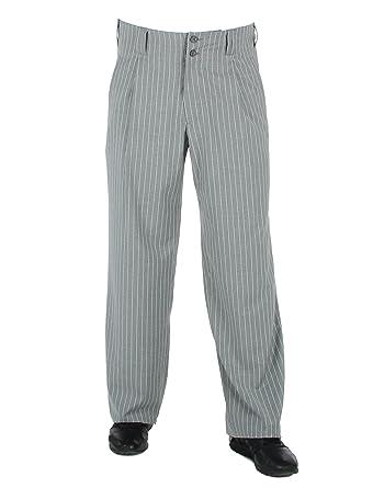 begehrteste Mode aktuelles Styling neuer Stil von 2019 Hose Swing in Grau Weiss Gestreift, Bundfaltenhose im Stil ...