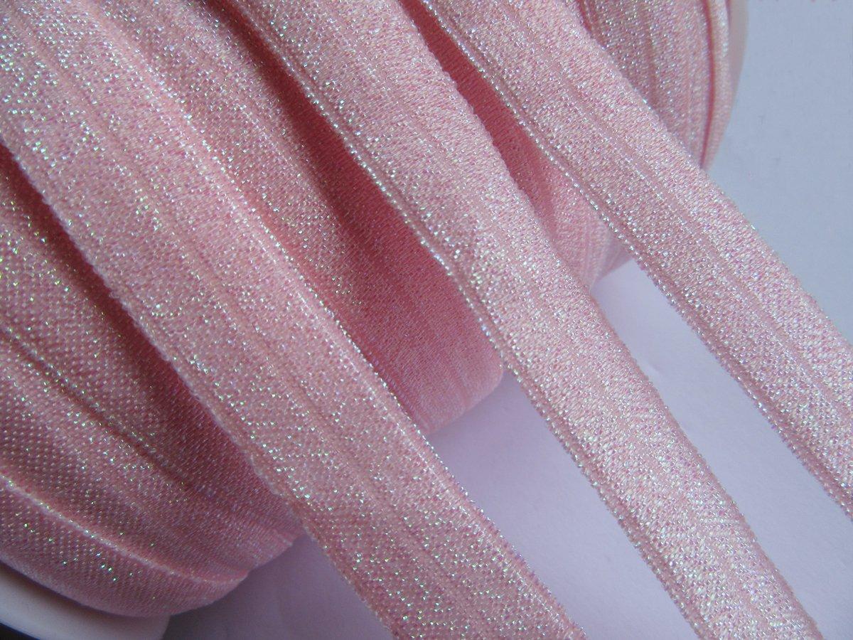 YYCRAFT 5//8 15 yards Glitter Fold Over Elastic Stretch Foldover FOE Elastics for Hair Ties Headbands Silver