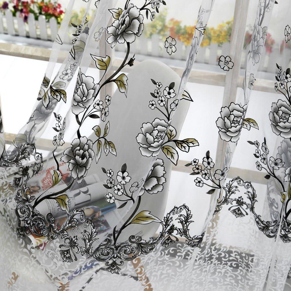 Gris Rameng Rideau Voilage Transparent Oeillet Rideau Douche pour Salon et Chambre