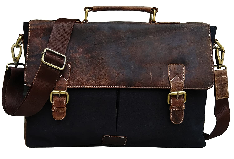 KK's 16 inch Genuine Leather Vintage Laptop Canvas Messenger Satchel Briefcase Bag (Coffee) KK' s kk' s 5