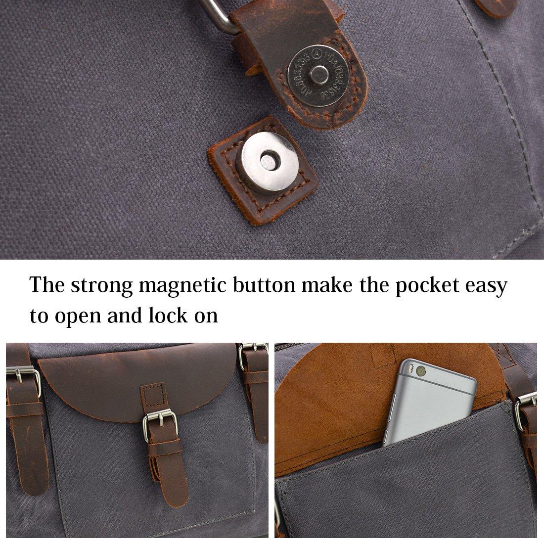 Oversized Travel Duffel Bag Waterproof Canvas Genuine Leather Weekend bag Weekender Overnight Carryon Hand Bag Gray