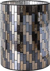 WHOLE HOUSEWARES Bathroom Accessory Sets Black/Gold Tile Mosaic Glass Bathroom Accessories - Wastebasket/Trash Can