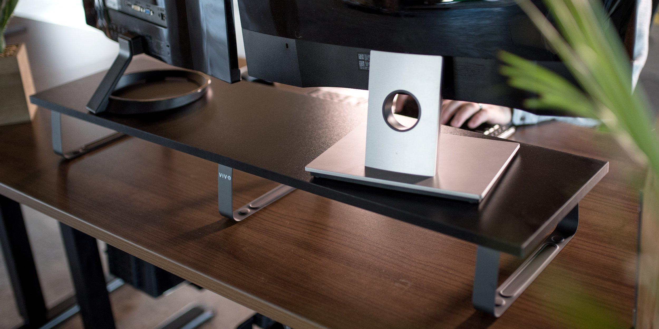 VIVO Black Wood 39'' Wide Extra Long Desktop Stand Ergonomic TV, Dual Monitor Riser and Desk Tabletop Organizer (STAND-V000DL) by VIVO (Image #5)