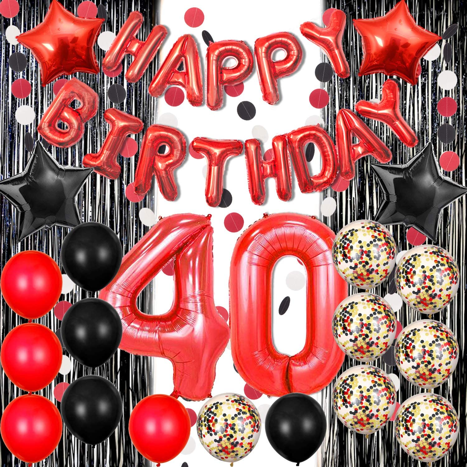 Red Black Gold Confetti Balloons Decoration for Birthday Parties Happy 50th Red Happy Birthday Balloons Banner Decorations Party Supplies for Adults Baloons for Birthday Party, 50th Red and Black Balloons Happy Birthday Party Decorations for Women Men