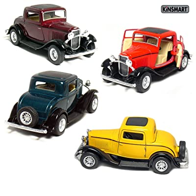 "KiNSMART Set of 4: 5"" 1932 Ford 3-Window Coupe 1:34 Scale (Green/Maroon/Red/Yellow) Toy, Multicolor: Toys & Games"