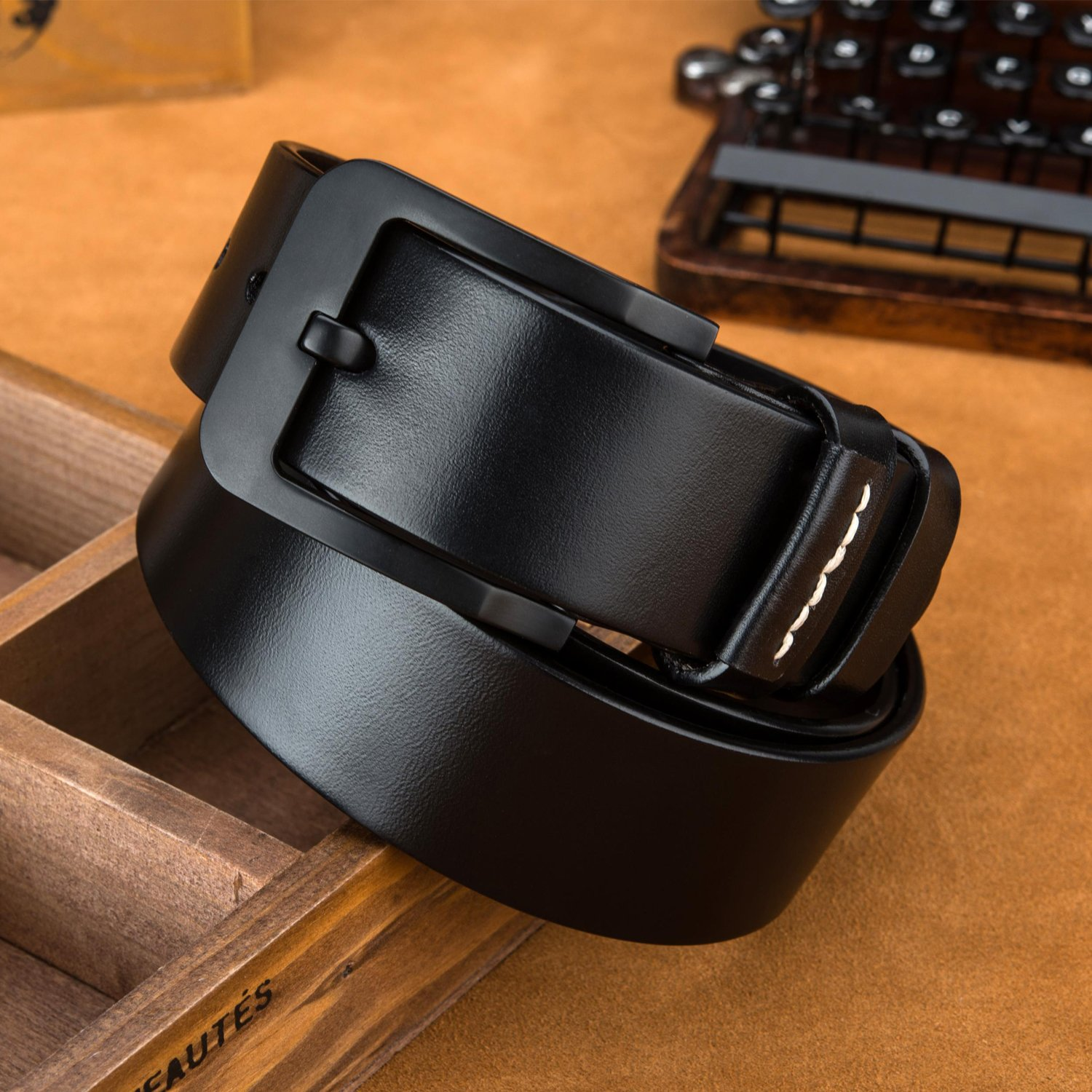LUCIANO Casual Italy Cowhide Genuine Leather Black /& Brown Belt Mens Dress Belts