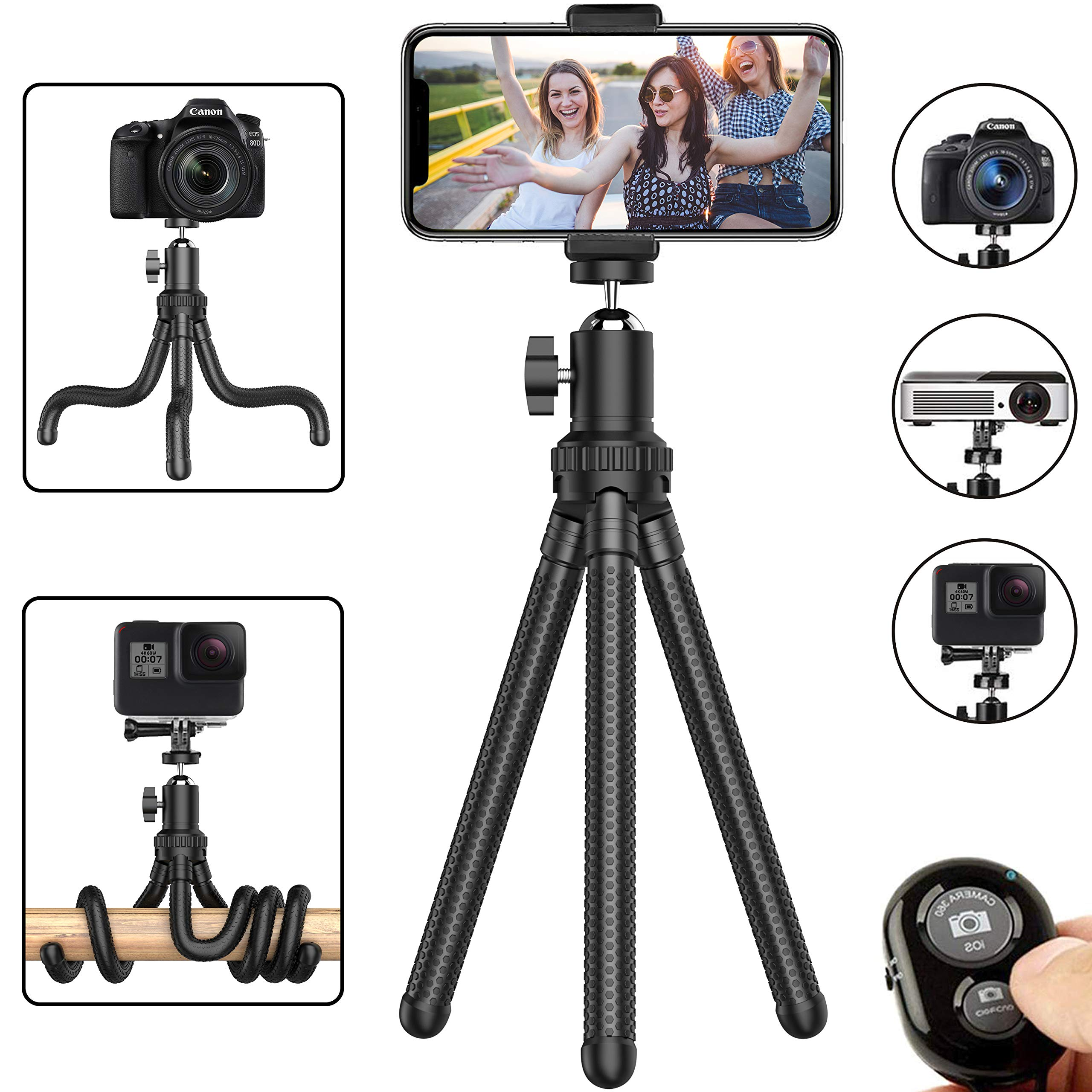 Phone Tripod, Flexible Cell Phone Tripod Adjustable Camera Stand Holder with Wireless Remote and Universal Clip 360° Rotating Mini Tripod Stand for iPhone, Samsung Android Phone, Sports Camera GoPro by Erligpowht
