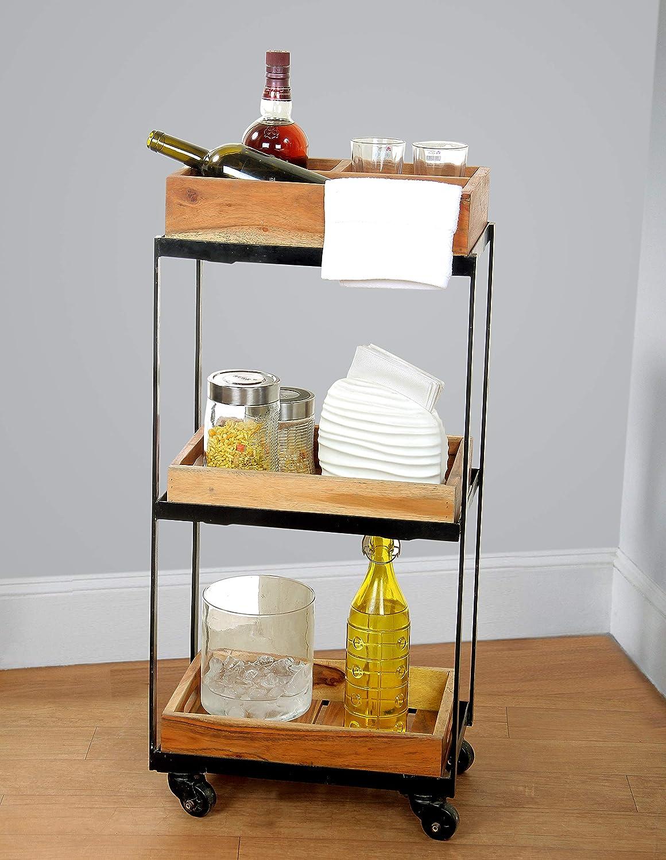 DECORINY 3-Tier Rolling Utility Storage Acacia Wood Kitchen Serving Bar Cart, Birchwood