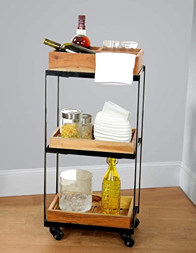 DECORINY 3-Tier Rolling Utility Storage Acacia Wood Kitchen Serving Bar Cart, Birchwood