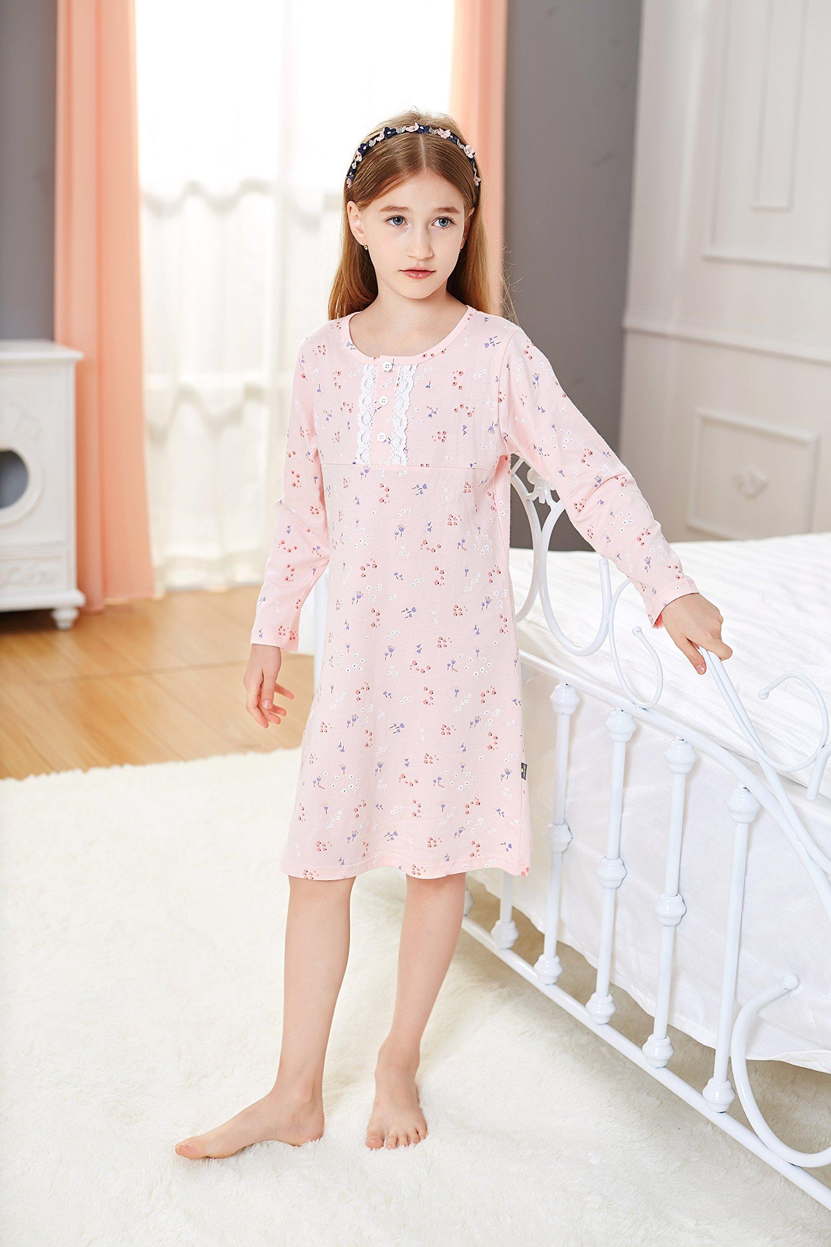 Toddler Girls\' Princess Nightgowns Lace Sleep Shirts Cotton Night ...