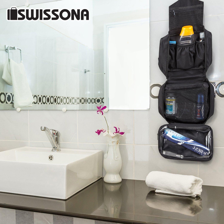 a6c85b728 SWISSONA Neceser Premium, Impermeable y Colgante, Ideal para Viajar, Malla  y Cierre de Cremallera | Bolsa de Aseo, Bolsa de Viaje, Estuche, Toiletry  Bag: ...