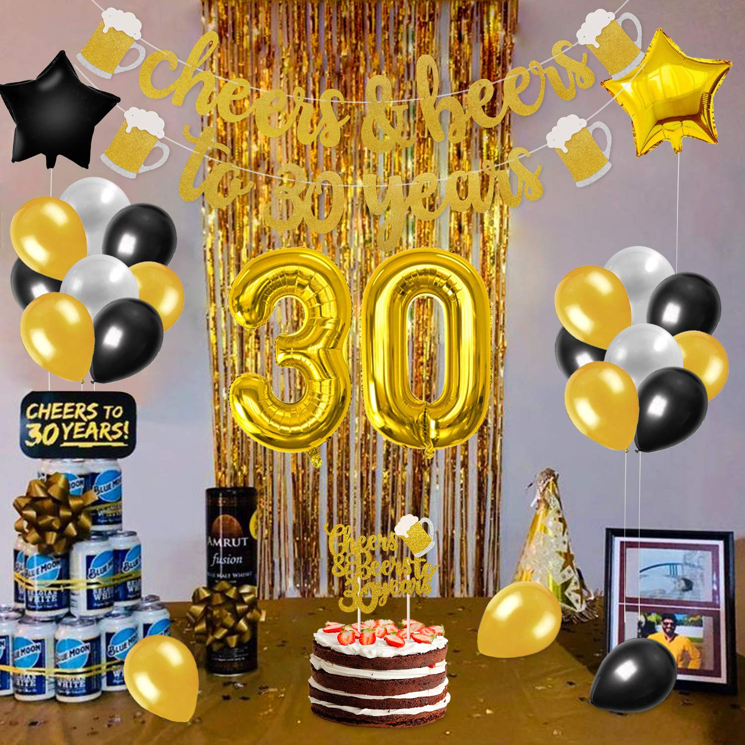 30th Birthday Party Decorations Kit Perfect 30 Years Old Party Supplies Cheers Beers To 30 Years Banner Cake Toper 30 Gold Number Balloons Black