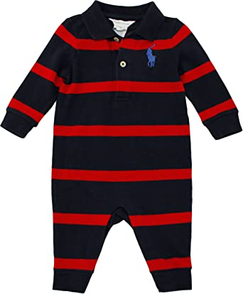 57a2abede Amazon.com  Ralph Lauren Layette Boy s Striped Big Pony Coverall (3 ...