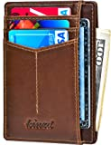 Kinzd Slim Wallet RFID Front Pocket Minimalist Leather Wallet thin Card Holder