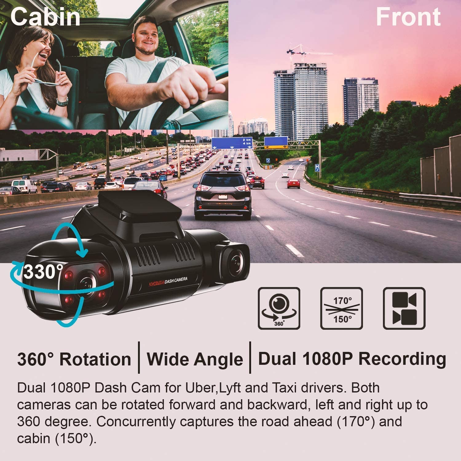 "Supercapacitor | WiFi Car Taxi Dash Cam Full HD 1080p W//Single Channel 2160p Dash and Inside Cabin Infrared Night Vision REXING V2 PRO Full HD Dual Camera 2.7/"" LCD Screen"