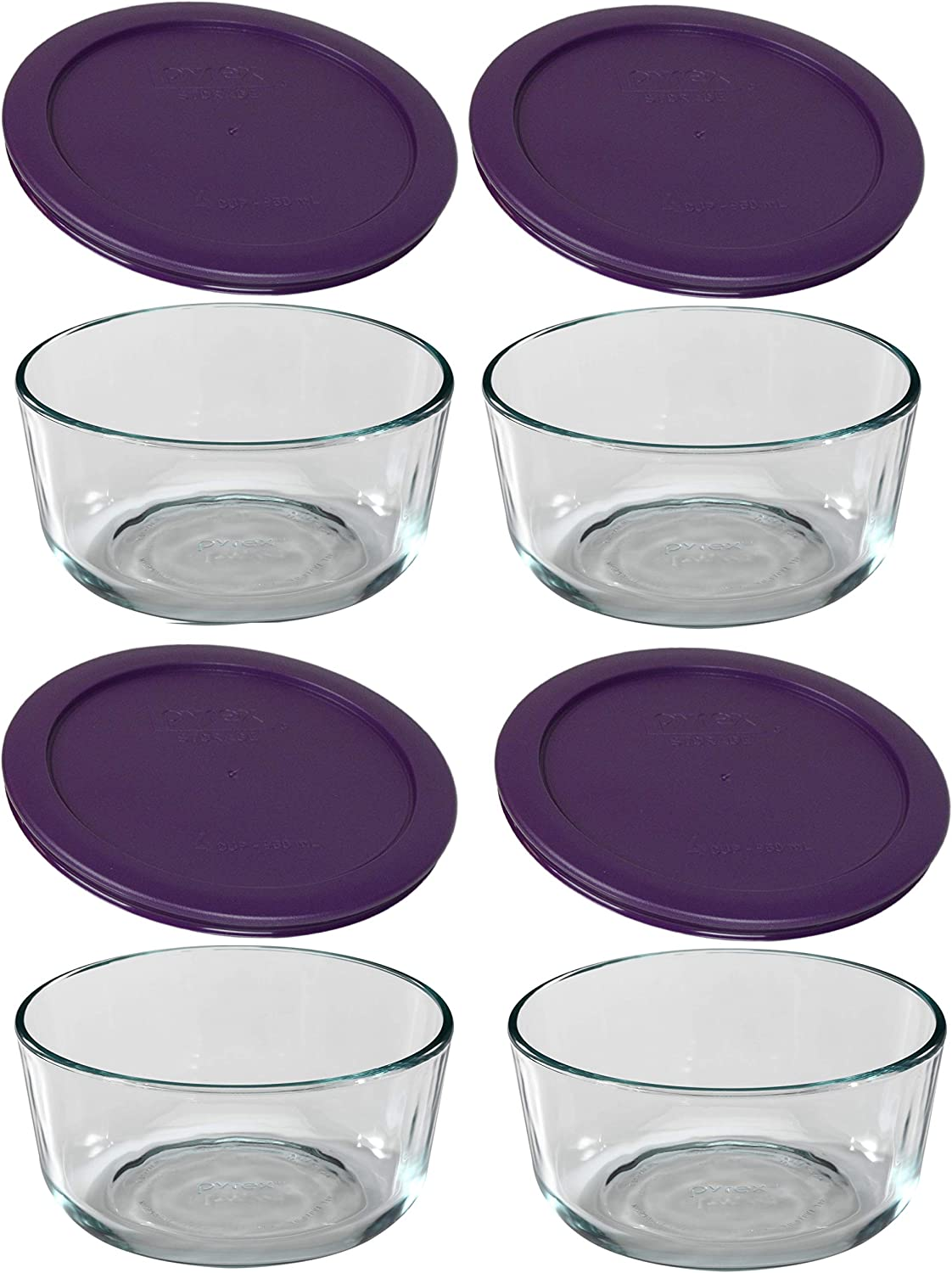 Pyrex Simply Store Glass 1 Cup Food Storage Set Purple, (pack of 4)