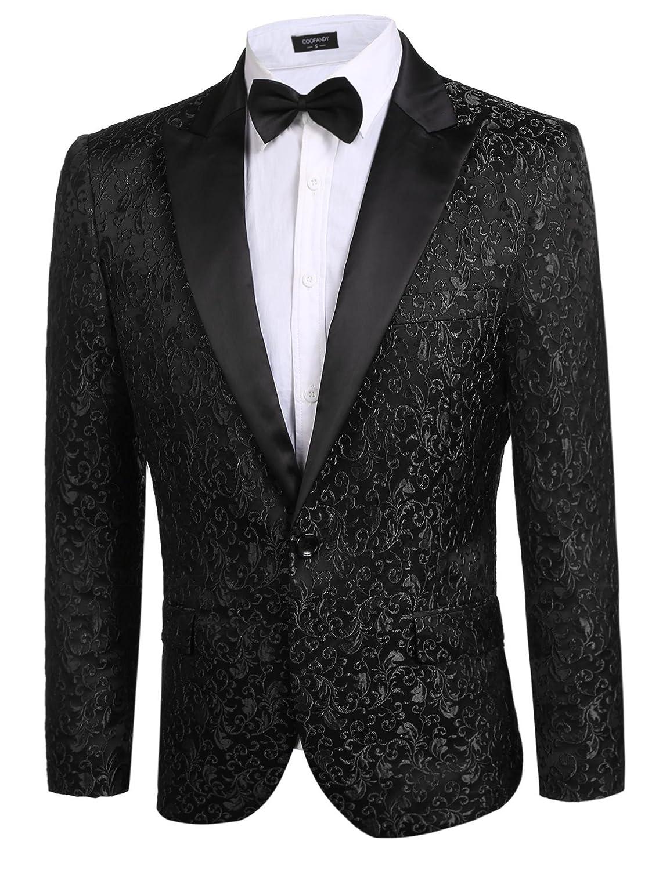 15fb97e3df4 COOFANDY Men's Floral Party Dress Suit Stylish Dinner Jacket Wedding Blazer  Prom Tuxedo at Amazon Men's Clothing store: