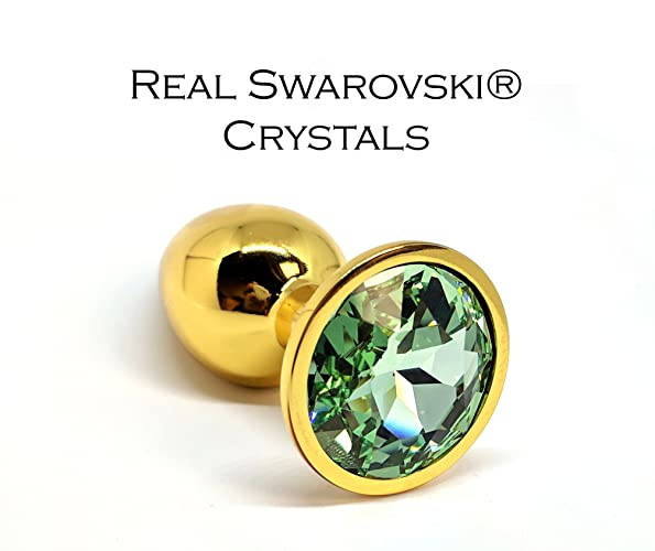 b2bc4a2ddefda Amazon.com: Swarovski Chrysolite crystal decorated gold butt plug in ...