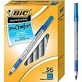 BIC Round Stic Grip Xtra舒适圆珠笔,适中型(1.2毫米),蓝色,36支