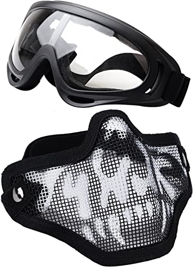 LUNETTES AIRSOFT STEEL MESH NOIR AIRSOFT PAINTBALL PROTECTION
