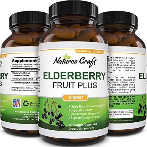 Black Elderberry Capsule Antioxidant Supplement – Immune Support Anti Aging Sambucus Elderberry Extract Skin Supplement for Skin Whitening – Cold Relief Elderberry Supplement Immune System Booster